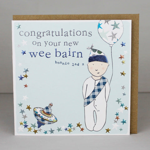 Cute Scottish New Baby Boy Card