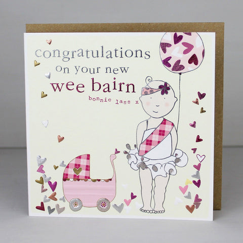 New Baby Girl Card Scottish