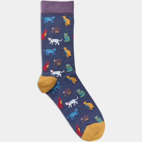 Bamboo Socks Navy Cat Print
