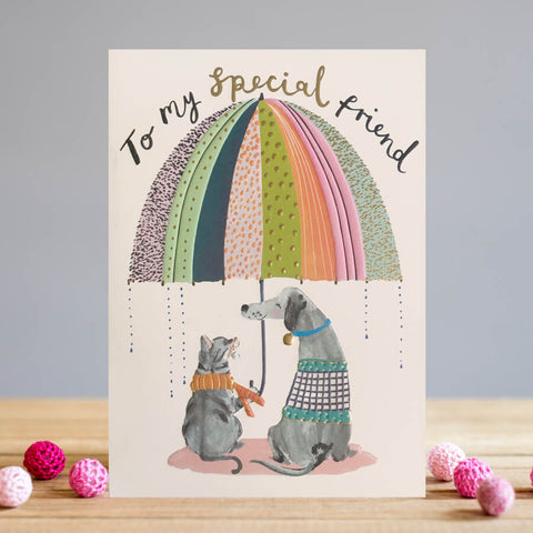 To My Special Friend cat & Dog Friendship Blank Card