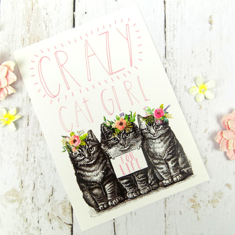 Crazy Cat Girl For Life Postcard