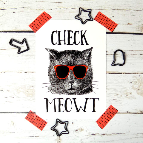 Check Meowt Postcard
