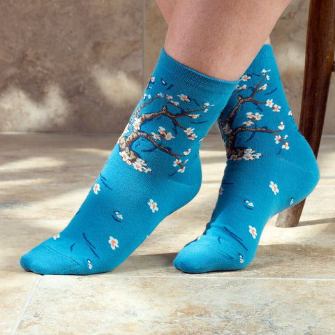 Ladies Cotton Socks Almond Blossom Print