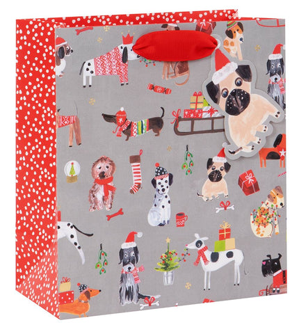 Medium Festive Dog Print Christmas Gift Bag