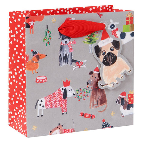 Small Festive Dog Print Christmas Gift Bag