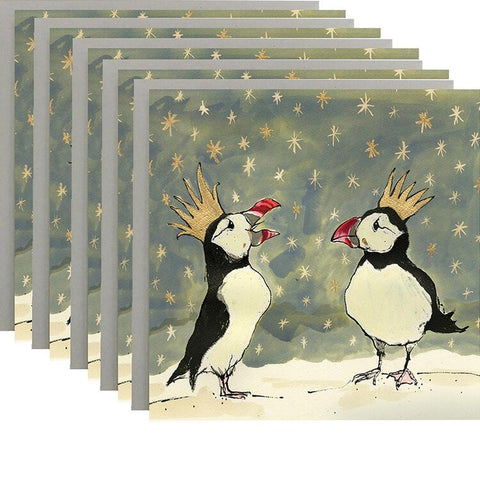 Christmas Puffins Pack of 5 Cards by Anna Wright
