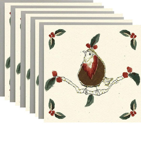 Christmas Robins Pack of 5 Cards by Anna Wright