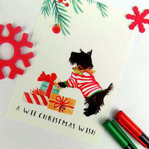 A Wee Christmas Wish (Scottie dog) postcard