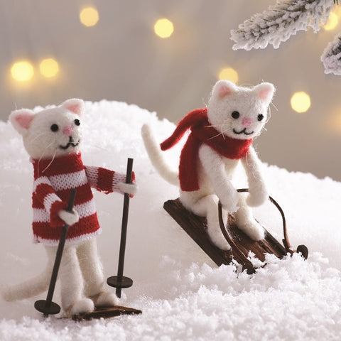SKIING & SLEDGING CAT DECORATION ASSORTED