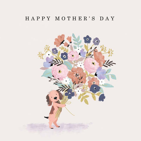Dog With Flowers Happy Mothers Day Card