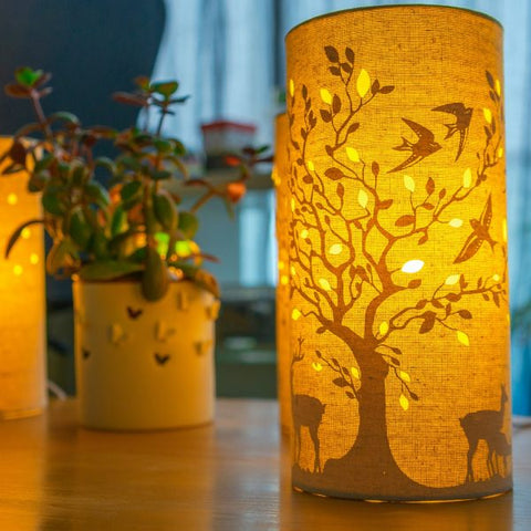 Deer & Birds Print Fabric Lamp