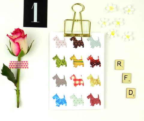 Patterned Scottie Dogs Blank Card