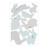 Rabbit Wall Stickers in Duck Egg Blue & Grey