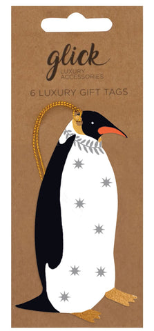 Pack of 6 Luxury Penguin Gift Tags