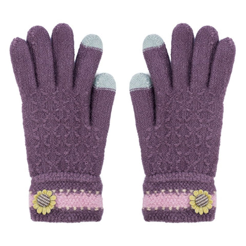 Flower Button Detail Ladies Gloves Assorted