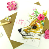 Hey Foxy Watercolour Fox Boho Floral Greeting Card