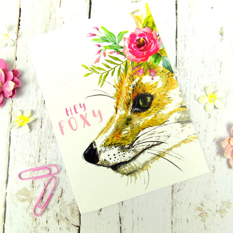 Watercolour Fox Floral Postcard
