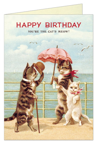 Vintage Cat Print Birthday Card