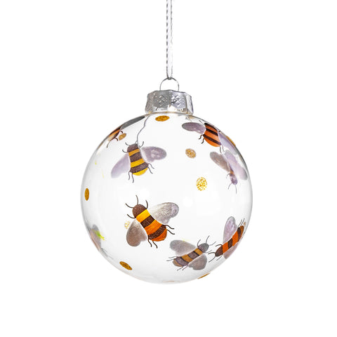 BUSY BEES GLASS BAUBLE