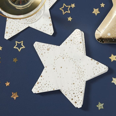 GOLD FOILED STAR SHAPED PAPER NAPKINS