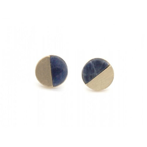 Brushed Metal Stone Round Stud Earrings Gold Navy