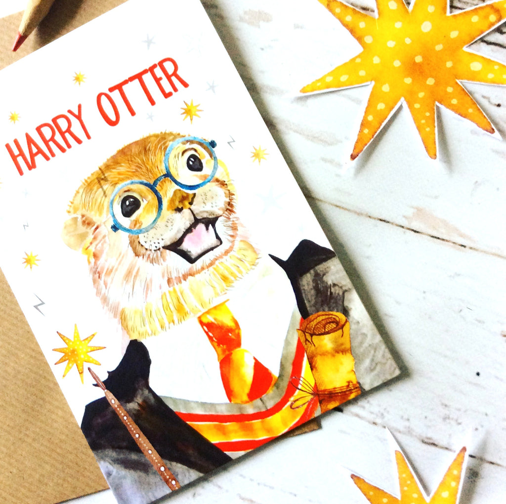 Harry Otter Print Greeting Card Red Fox Design