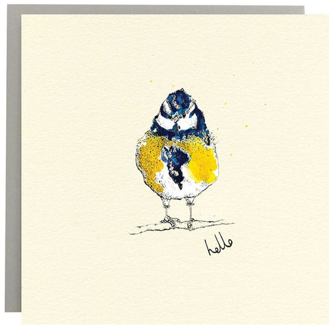 Hello Blue Tit Greeting Card