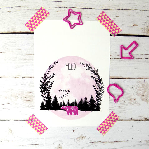 Hello (Pink Bear) postcard