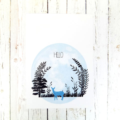 Hello (Blue Deer) A4 print