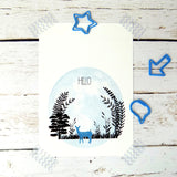 Hello (Blue Deer) Postcard