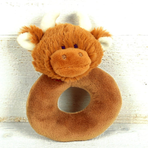 Highland Cow Cuddly Baby Rattle