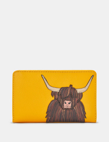 HIGHLAND COW YELLOW LEATHER OXFORD PURSE