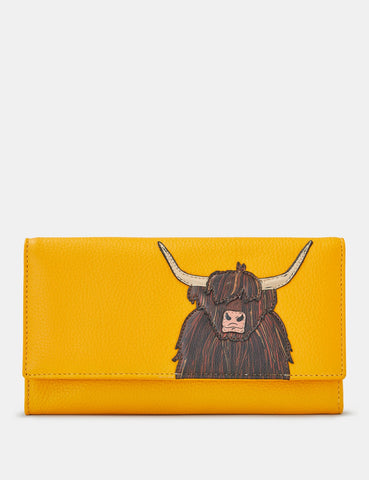 Highland Cow Yellow Leather Hudson Purse