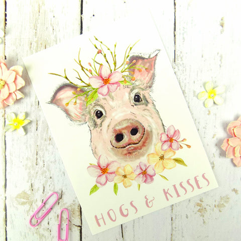 Hogs & Kisses Cute Pig Postcard
