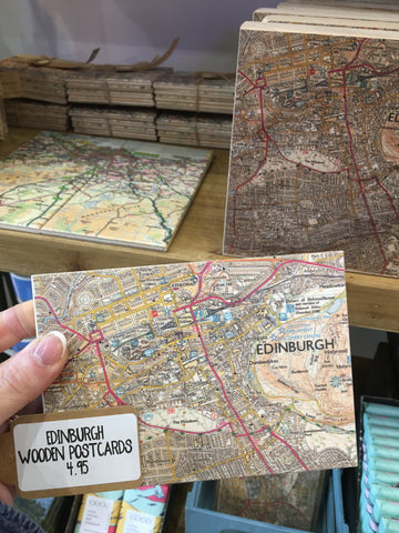 Edinburgh Wooden Map Postcard
