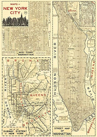 Map of New York Print Poster