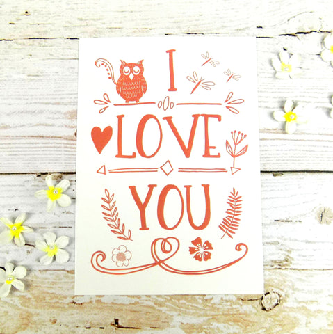 I Love You (Owl) Postcard