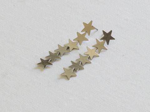 Silver Iris Row of Stars Constellation Earrings