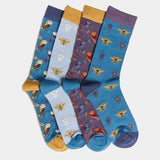 Bamboo Socks Light Blue Bee Print