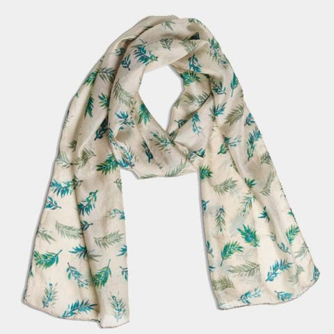 PRINTED SILK SCARF – PLUME OYSTER