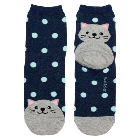 Ladies Cotton Socks Navy Spotty Cat Print