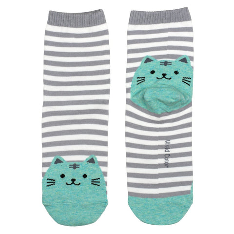 Ladies Cotton Socks Grey Stripe Cat Print