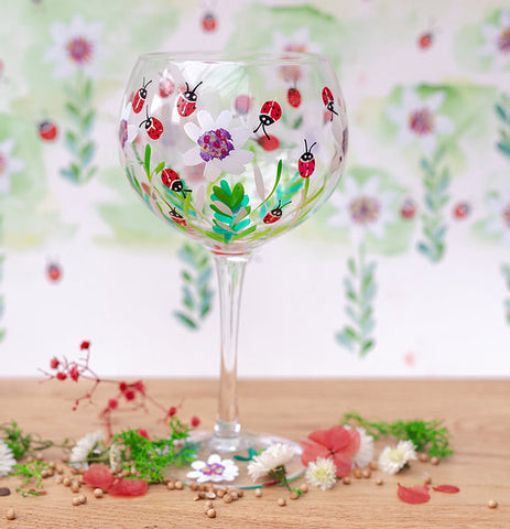Ladybirds Hand Painted Gin Glass