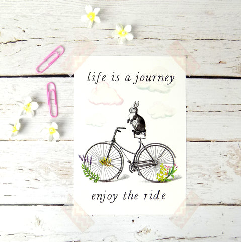 Life Is A Journey Enjoy The Ride postcard