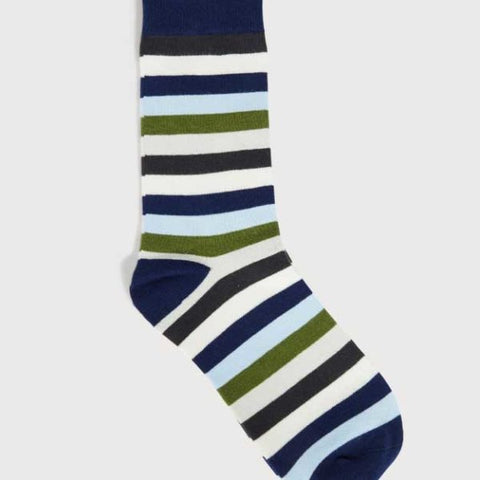Mens Super Soft Cotton Socks Stripe Navy