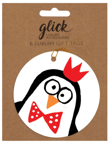 Pack of 6 Luxury Doodle Penguin Gift Tags