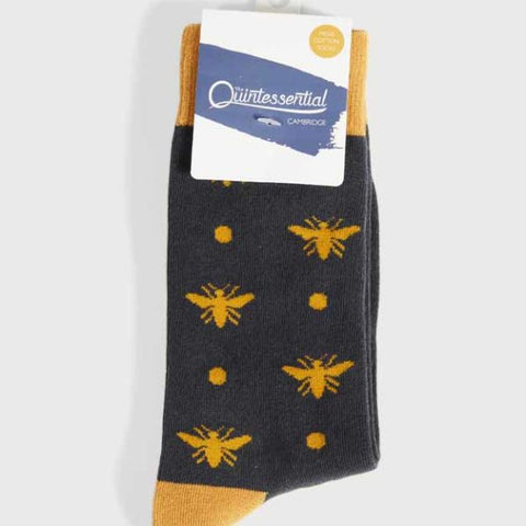 Mens Super Soft Cotton Socks Bee Mustard