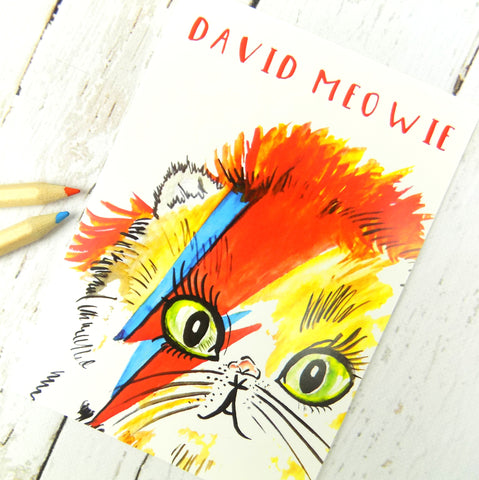 Cute Funny David Meowie Postcard