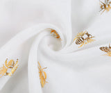 White Metallic Gold Bee Print Scarf