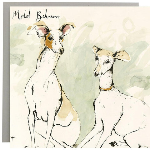 Model Behaviour Whippets Greeting Card